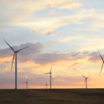 Wind turbines stand tall in Wyoming's land