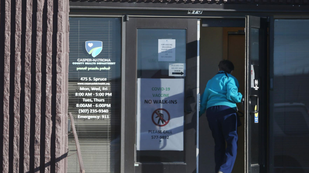 Natrona County Health Department shows mask required sign