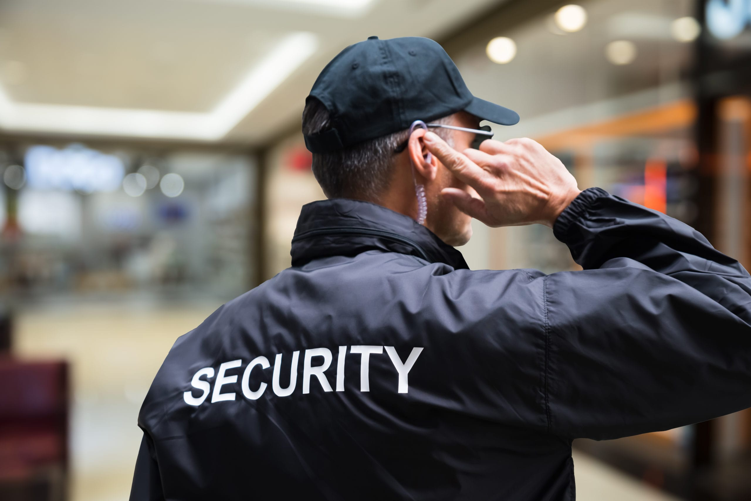 Security officer monitors the premises